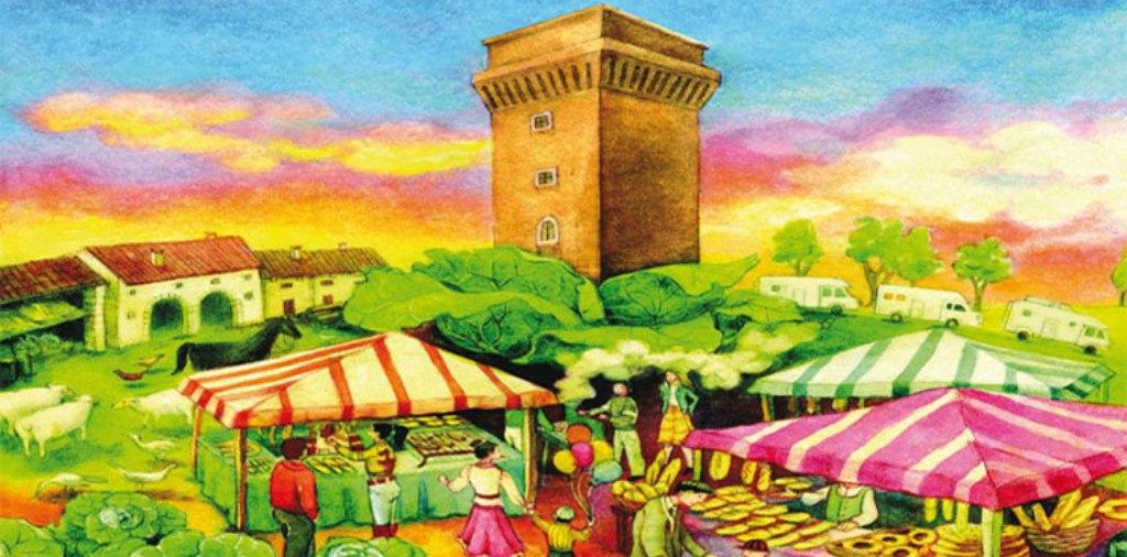 Disegno colorato raffigurante un borgo in festa, con bancarelle e persone