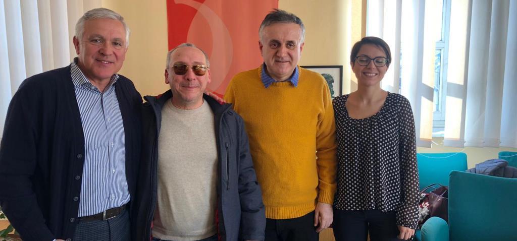 Sindaco e vicesindaco Settimo Torinese con delegazione UICI Torino