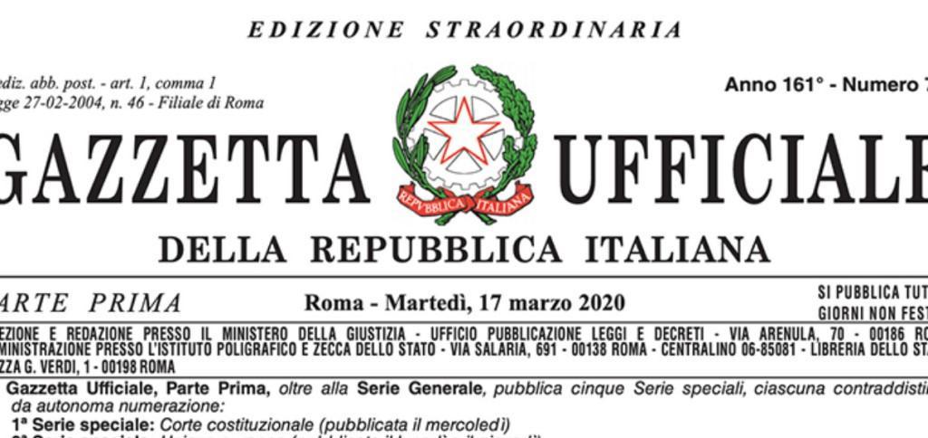 Frontespizio Gazzetta Ufficiale con decreto Cura Italia