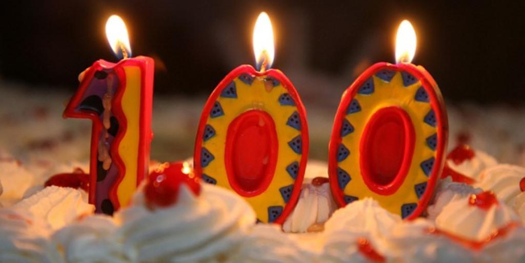 Torta di compleanno: candeline con numero 100