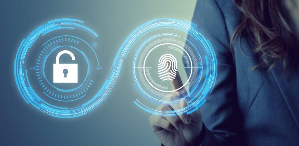 Disegno Identità digitale: geometrico con lucchetto sicurezza