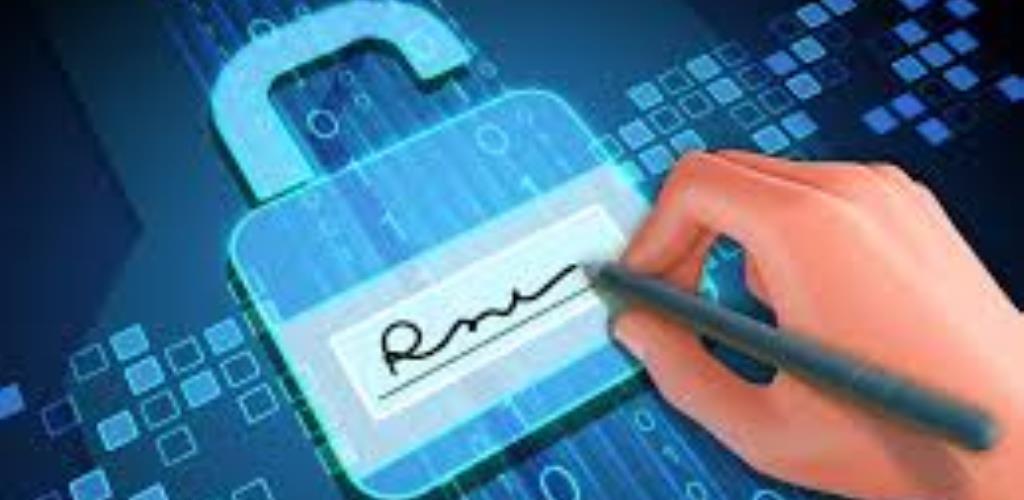 Disegno di mano che firma su supporto elettronico