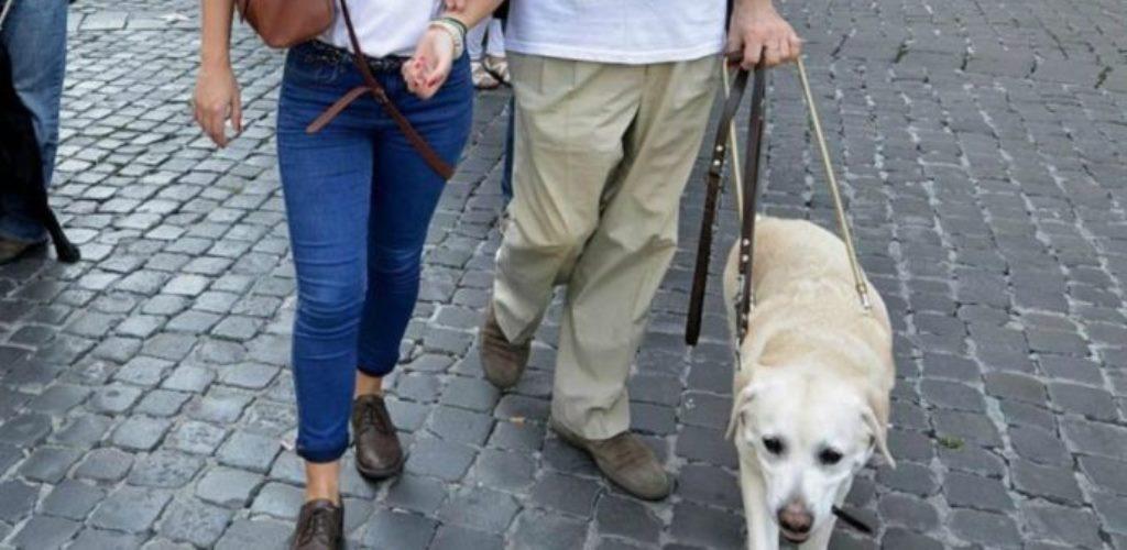 Volontaria e persona cieca con cane guida camminano insieme