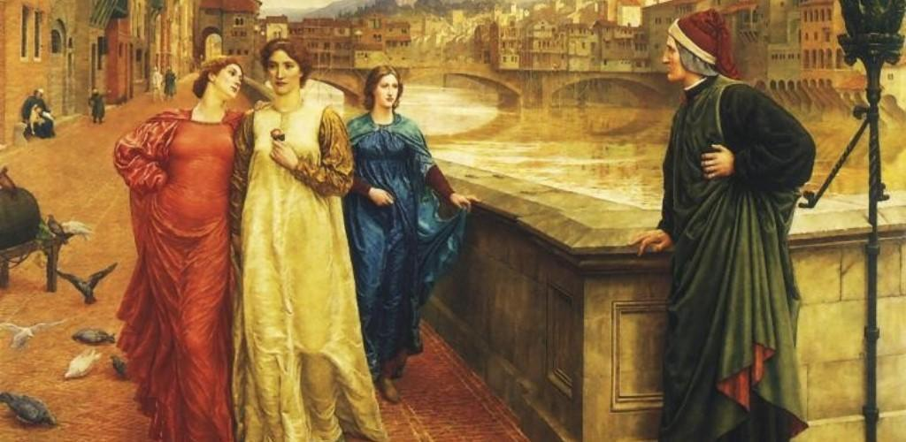 Dipinto raffigurante Dante a Firenze in compagnia di alcune donne, tra cui Beatrice
