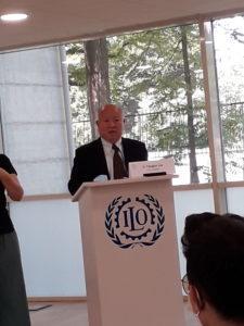 Il direttore di ITCILO, Yanguo Liu, durante l'apertura dei lavori